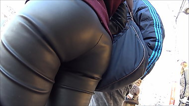 fine ass leather leggings girl
