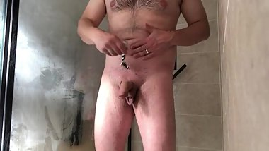 Shaving cock in the shower