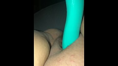 Moaning with my vibrator is on my clit