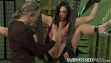 Suspended sub babe toyed by dominant maledom