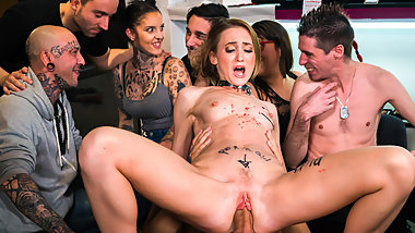 FORBONDAGE - Crowd BDSM domination for skinny slave babe