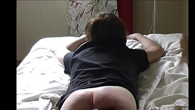 GBS Carol strapped over her jeans&on her barebottom for messy room