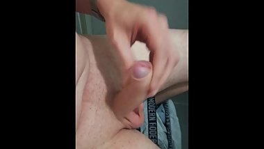 Chubby boy wanks and cums