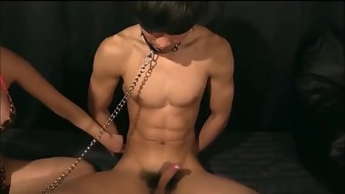 Straight Japanese with great abs gets edged and nipple played!