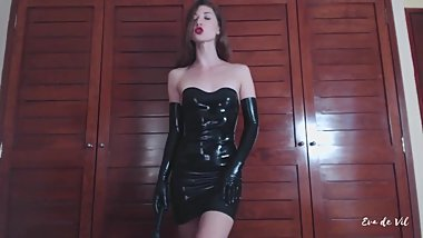 black latex mistress and your warm sperm in her latex glove hands