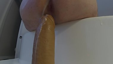 Fake Cum Covered Ass Riding Dildo w/ Creampie Squirt - 20190713 (GoPro HD)
