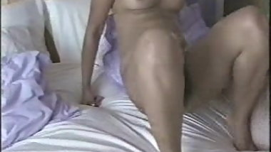 British Indian Malvina with white boyfriend in bedroom