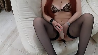 Anal toy in ass and pussy rubbing. Mommy like fuck