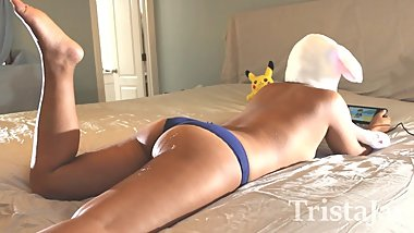 Girlfriend Plays Pokemon on Switch Boyfriend Jerks Off and Cums on Her Ass