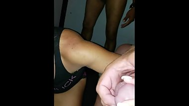My Tiny slut being used up by me and a couple guys