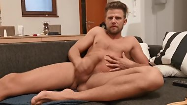 Blond sexy guy jerkoff in sofa