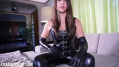 Mistress girl in latex corset