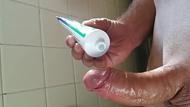 Lubing up my shaved cock to play with