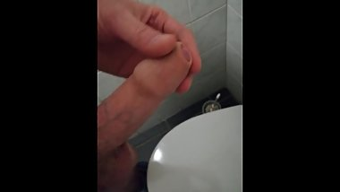 Wank and cum at work