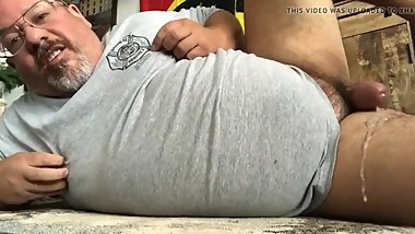 dad shoots a thick creamy hands free load for you to lick up and eat