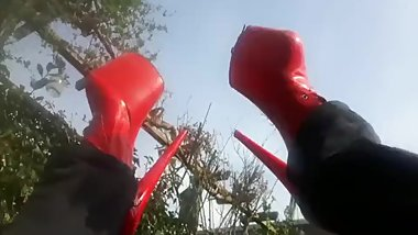 EXTREME RED HIGH HEELS SISSY