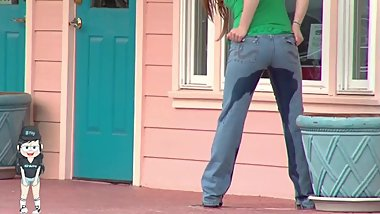 Desperate to Pee Teenager Wets Her Pants in Public