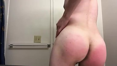 Twink Spanks Himself Before Daddy Comes To Find Him
