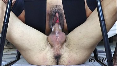 MissFluo - Double orgasm on denied cock and juices spill all over it