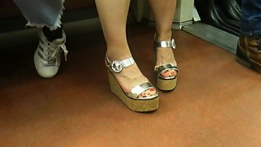 Candid hot asian in wedges heels
