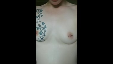 Sweat dripping down my perfect little tits